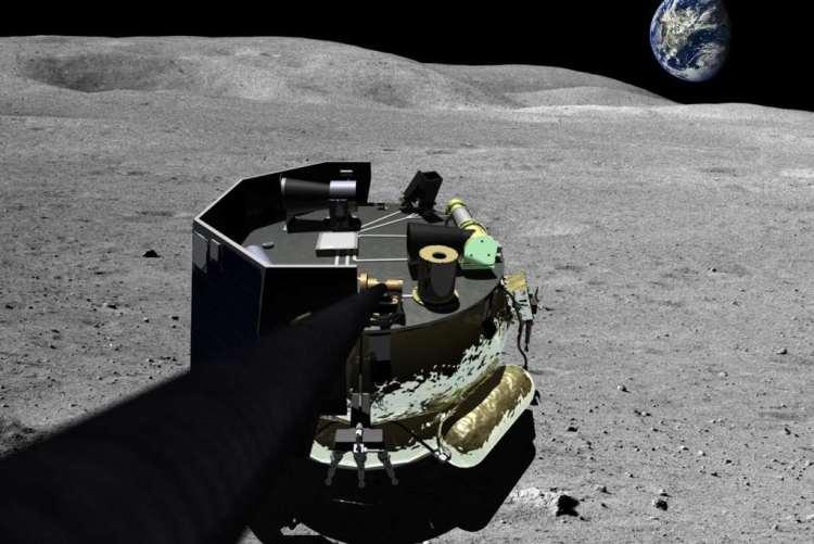 De maanlander van Moon Express maakt een selfie op het oppervlak van de maan. Afbeelding: Moon Express Inc.