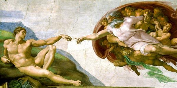 Wellicht één van de beroemdste verbeeldingen van de schepping van Adam. Te vinden in de Sixtijnse Kapel in Rome, van de hand van Michelangelo.