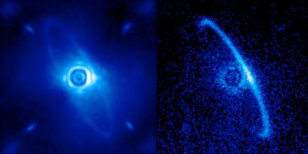 Een door GPI gekiekte stofschijf rond de jonge ster HR4796A. Afbeeldingen: Marshall Perrin / Space Telescope Science Institute.