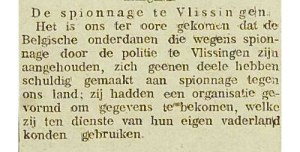 Een krantenbericht over de spionage in ons land. Bron: geschiedeniszeeland.nl