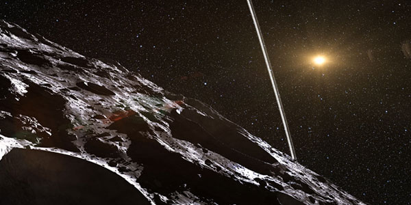 Zo moet dat er vanaf het oppervlak van Chariklo ongeveer uitzien. Afbeelding: ESO / L. Calçada / Nick Risinger.