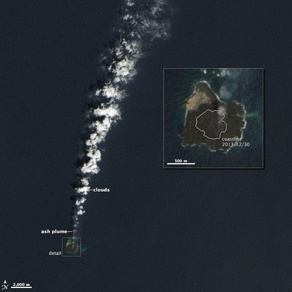 Twee eilanden zijn één geworden, zo bewijst deze satellietfoto. Afbeelding: NASA.
