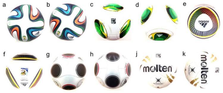 De verschillende ballen die tijdens dit onderzoek bestudeerd zijn. Plaatje a en b laten de Brazuca, oftewel de Braziliaanse WK-bal zien. Afbeelding: Sungchan Hong & Takeshi Asai.