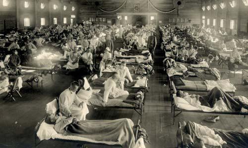 Een noodhospitaal dat vanwege de Spaanse griep werd opgericht.