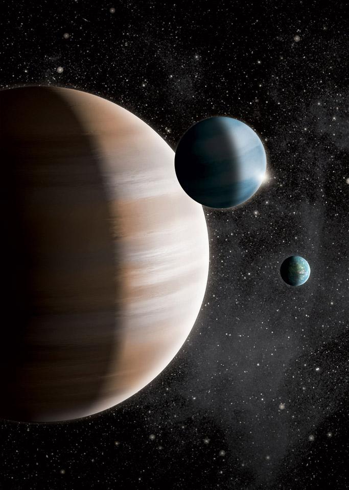 Op deze afbeelding ziet u de drie soorten planeten: de aardachtige planeet, de gasreus en gasdwerg. Afbeelding: J. Jauch.