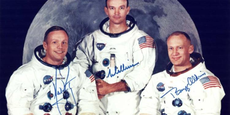 Van links naar rechts: Neil Armstrong, Michael Collins, Edwin Aldrin. Afbeelding: NASA.