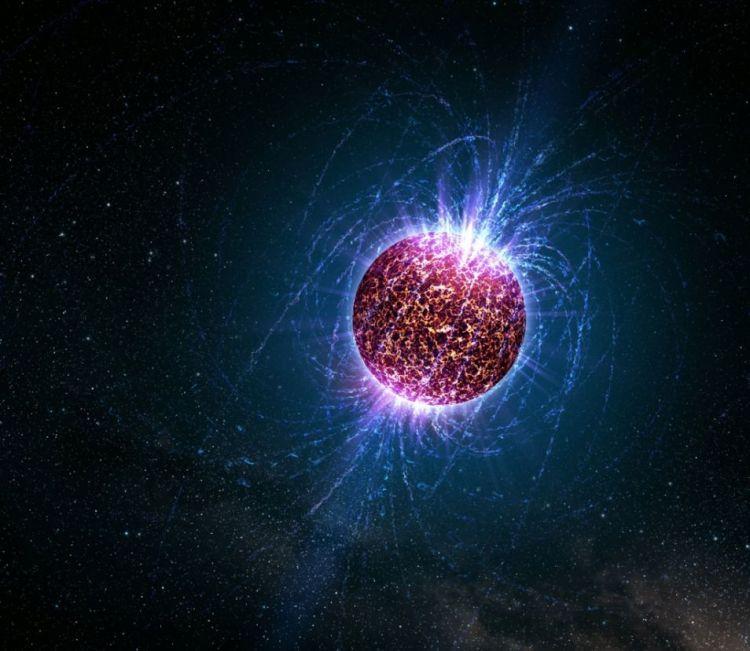 Een impressie van een neutronenster.