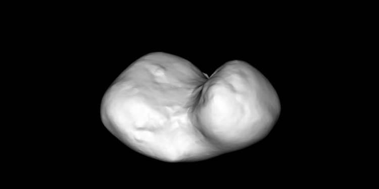 Het model dat ESA eerder dit jaar maakte. Afbeelding: ESA / Rosetta / MPS for OSIRIS Team MPS / UPD / LAM / IAA / SSO / INTA / UPM / DASP / IDA.