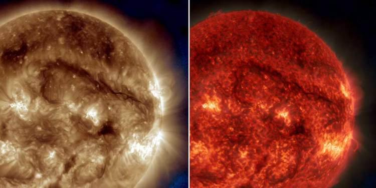 Op deze foto's zie je de materiebrug rechtsboven boven het oppervlak van de zon 'zweven'. Afbeelding: NASA / SDO.