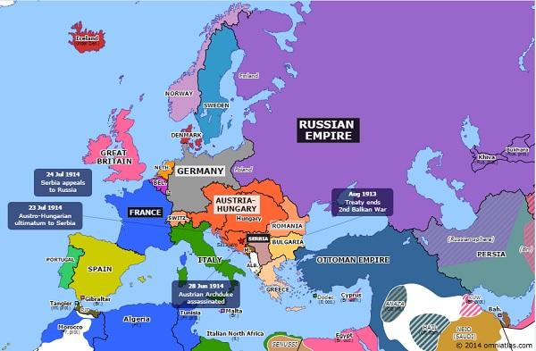 Europa in 1914 voor de Eerste Wereldoorlog. Bron: Historical Atlas of Europe.