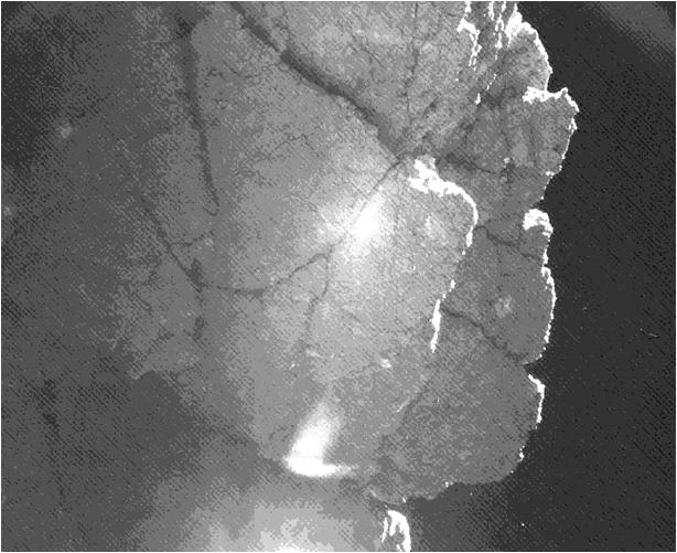 Nabij deze klif is Philae geland. De foto is gemaakt door de Philae-lander, kort na de landing op de komeet 67P/C-G.