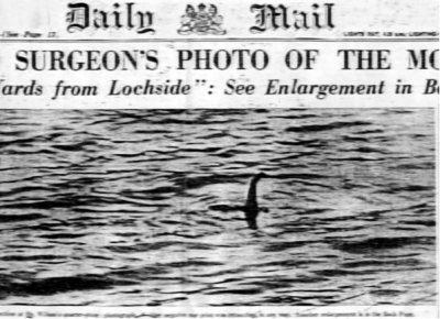 Deze foto - die later een hoax bleek te zijn - leidde ertoe dat mensen het vermeende monster van Loch Ness gingen associëren met de plesiosaurus. Afbeelding: K.  Wilson.
