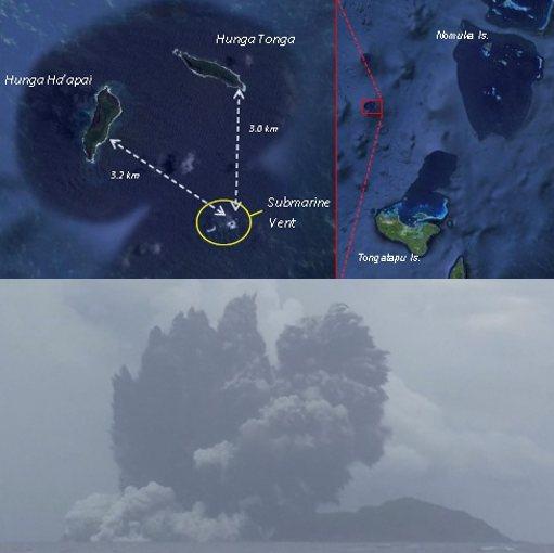 Boven een kaartje van de situatie. Hunga Tonga bevindt zich onder de twee eilandjes Hunga Tonga en Hunga Ha'apai. Onder de eruptie. Op de foto is goed te zien dat de vulkaan Hunga Tonga (rechts) niet actief is. Afbeeldingen: Mic.gov.to.