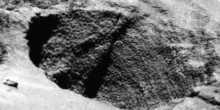 Op deze foto zie je een oppervlaktekenmerk dat ESA aanduidt als 'goosebumps', oftewel kippenvel. Oppervlaktekenmerken zoals deze zijn onder meer te vinden op heel steile hellingen. Hoe ze ontstaan is nog onduidelijk. Afbeelding: ESA / Rosetta / MPS for OSIRIS Team MPS / UPD / LAM / IAA / SSO / INTA / UPM / DASP / IDA.