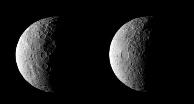 Deze foto's maakte Dawn op 25 februari toen de sonde zo'n 40.000 kilometer van Ceres verwijderd was. Afbeelding: NASA / JPL-Caltech / UCLA / MPS / DLR / IDA.