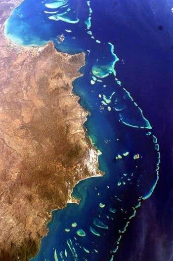 Het Groot Barrière Rif op een satellietfoto. Afbeelding: NASA.