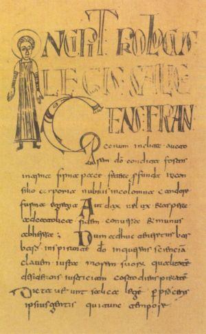 """In de """"Lex Salica"""" ofwel de """"Salische Wet"""", een wetboek uit de zesde eeuw is het Latijn doorspekt met het oudst bekende Nederlands in korte uitspraken en zinnetjes."""