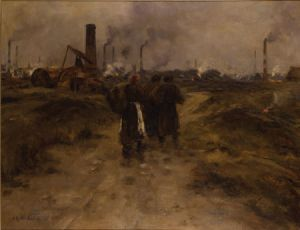 Schilderij genaamd 'Evening in the Black Country' gemaakt door Edward Butler Bayliss. Klik voor een vergroting. Bron: bbc.co.uk.