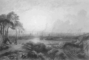 Een tekening van Manchester, dat destijds Cottonopolis werd genoemd. De stad stond bekend als het internationale centrum waar katoen werd geproduceerd. De tekening werd gemaakt door Edward Goodall. Klik voor een vergroting. Bron: Wikimedia Commons.