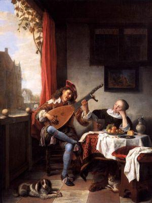 Nederlanders stonden in de 17de eeuw algemeen bekend om hun liefde voor zingen, maar het waren vooral jonge mannen die hun vrije tijd graag doorbrachten met het componeren van liedjes en het bespelen van de luit. Net als nu speelde de commercie er handig op in en publiceerde speciale jeugdliedboeken. Ouders moedigden keurig musiceren op zich aan, maar de jeugd moest niet overdrijven. 'De luitspeler' door Hendrik Martensz. Sorgh.