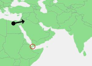 De mens verliet Afrika 55.000 jaar geleden via Egypte (zwarte pijl) en dus niet via de zuidelijke route (rode cirkel).