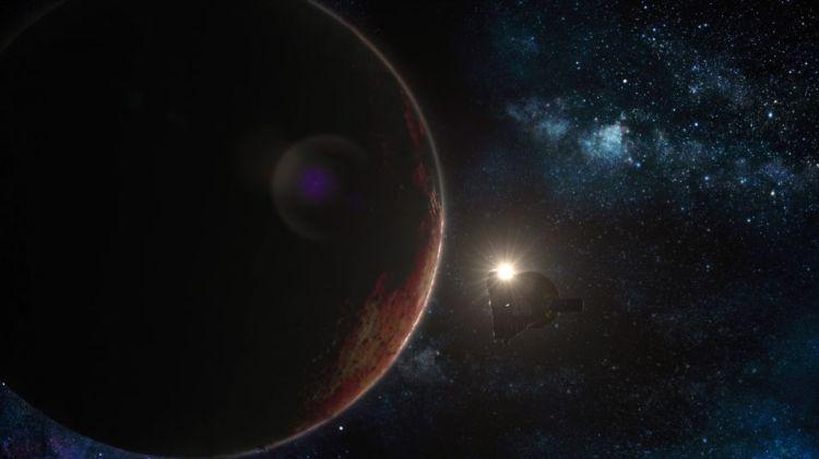 Wanneer New Horizons Pluto passeert, ontvangt de ruimtesonde radiosignalen van de aarde. Deze signalen reizen door de atmosfeer van de dwergplaneet, waardoor New Horizons leert waar de atmosfeer uit bestaat. Foto: National Geographic Channel.