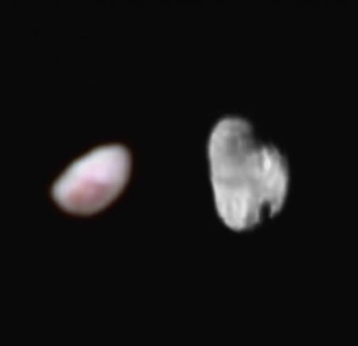 Nix (links) en Hydra (rechts). Afbeelding: NASA / JHUAPL / SWRI.