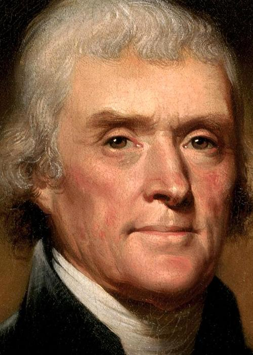 Thomas Jefferson in 1800. Afbeelding: Rembrandt Peale.