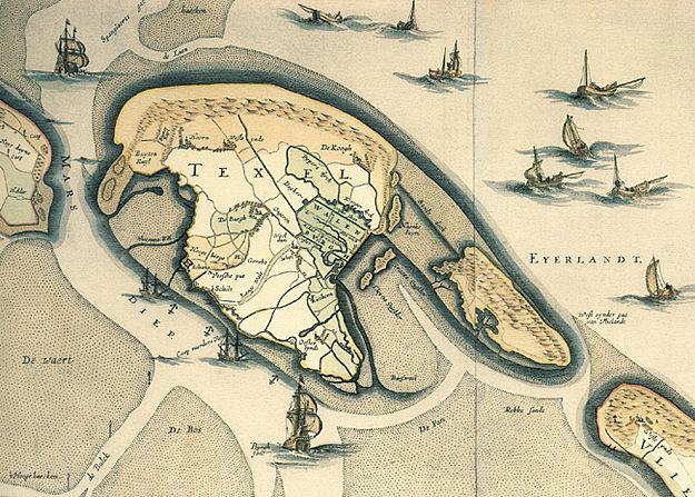 Detail van een grote wandkaart van Noord- en Zuid-Holland uit ca. 1725, getekend naar een oorspronkelijke kaart van J.A. Colom uit 1691. De kaart toont Texel verbonden met Eijerland door een dijk. De Eijerlandse Polder was er nog niet. Het noorden is rechts, westen is boven.