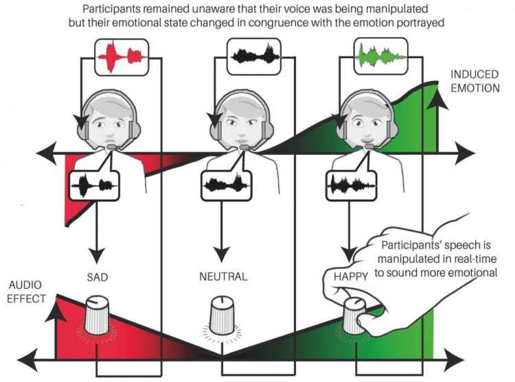 Deze afbeelding laat zien hoe je stemgeluid van invloed is op je humeur. Afbeelding gemaakt door het onderzoeksteam.