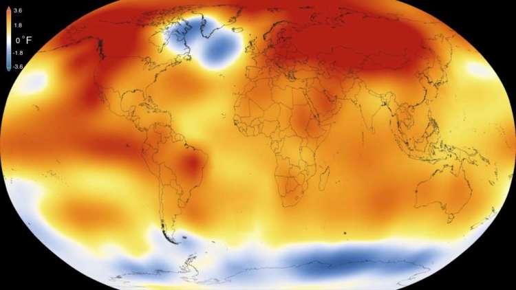Stijging of daling van de oppervlaktetemperatuur in 2015 ten opzichte van de periode 1951-1980.