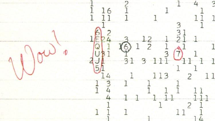 Het signaal ontleent zijn naam aan de kanttekening die astronoom Jerry Ehman erbij maakte. Afbeelding: The Ohio State University Radio Observatory / the North American AstroPhysical Observatory (NAAPO).