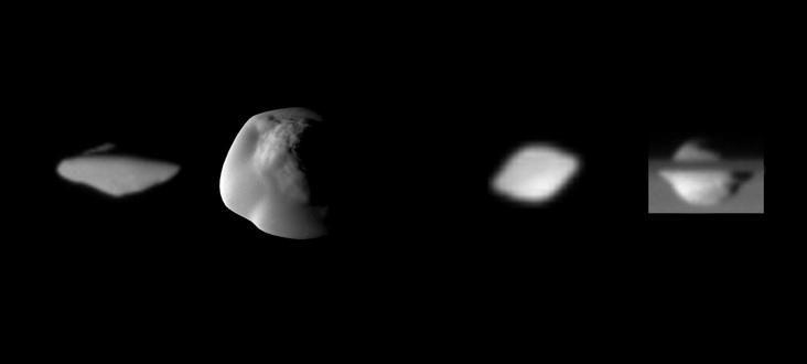 Hier zie je Atlas (links) en Pan (rechts). Beiden cirkelen rond Saturnus. Afbeelding: NASA / JPL / SSI.
