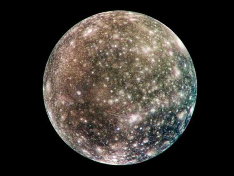 Callisto. Afbeelding: NASA / JPL / DLR (German Aerospace Center).