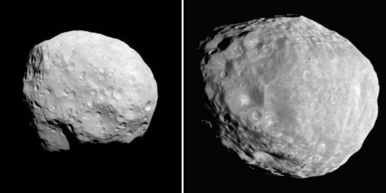 Epimetheus en Janus (niet op schaal). Afbeeldingen: NASA / Jet Propulsion Laboratory / Space Science Institute .