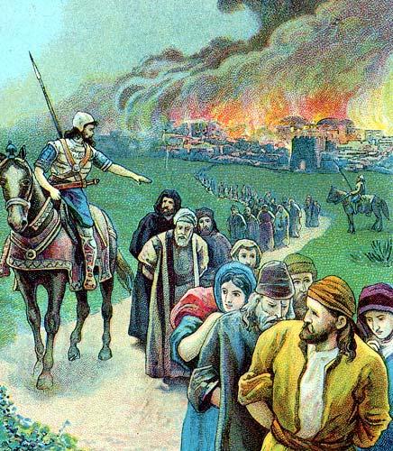 Inwoners van het gevallen koninkrijk van Juda worden weggevoerd naar Babylonië. Afbeelding: via Wikimedia Commons.