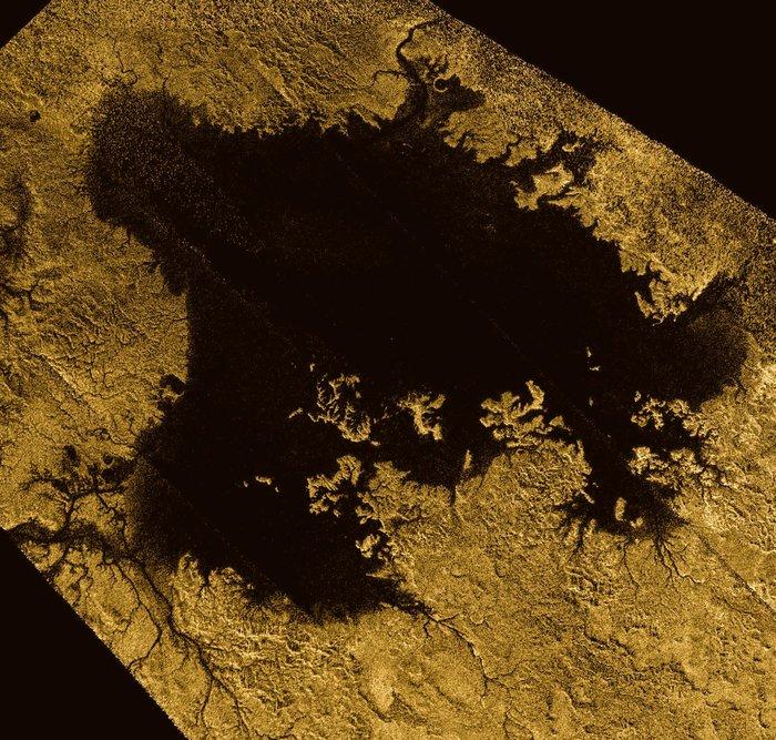 Ligeia Mare. Afbeelding: NASA / JPL-Caltech / ASI / Cornell.