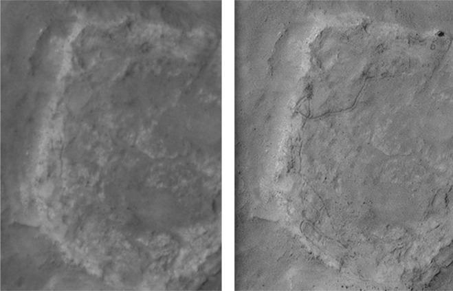 Links een foto van een orbiter, rechts de foto die door de onderzoekers met behulp van meerdere foto's van hetzelfde gebied is vervaardigd. Afbeelding: Planetary and Space Science - doi:10.1016/j.pss.2015.11.010.