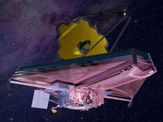 Een artistieke impressie van de James Webb-telescoop. Afbeelding: NASA.
