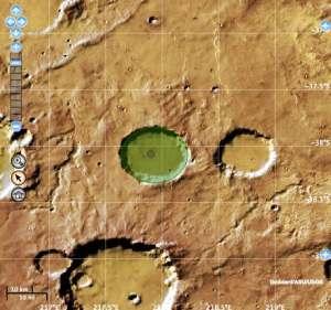 De krater Bunnik is hier groen gemarkeerd.