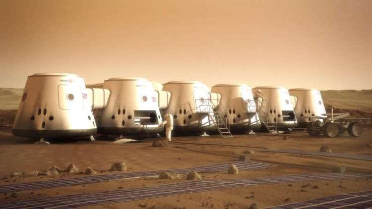 Deze artistieke impressie laat zien hoe Mars One zo'n kolonie op Mars voor zich ziet. Afbeelding: Mars One.