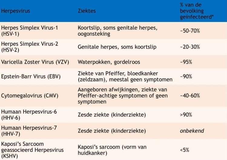 Percentage van de Nederlandse bevolking dat antistoffen heeft tegen deze virussen en er dus ooit mee in aanraking is geweest. Bron: RIVM.