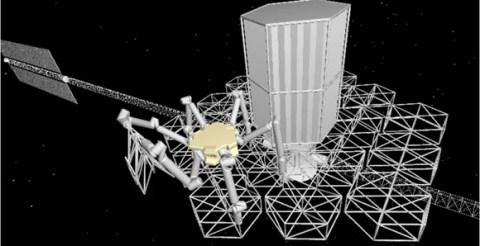 Een robot aan het werk in de ruimte. Afbeelding: doi:10.1117/1.JATIS.2.4.041207.