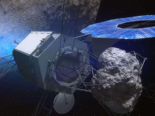 Het robotische ruimtevaartuig met een steen van een planetoïde in 'handen'. Afbeelding: NASA.