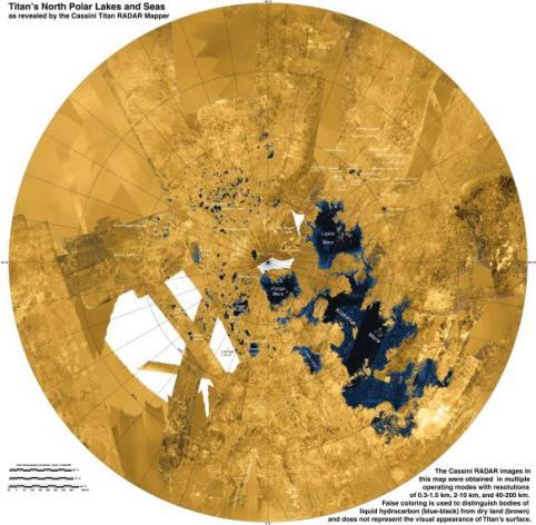 Hier zie je de noordpool van Titan die rijkelijk bedekt is met meren. Afbeelding: NASA / JPL-Caltech / ASI / USGS.
