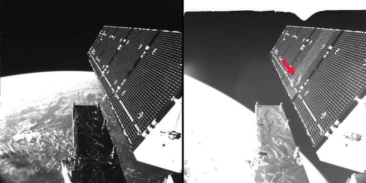 De linkerfoto is in 2014 gemaakt. De rechterfoto is kort na de meteorietinslag gemaakt. De 40 centimeter grote krater is duidelijk te zien.