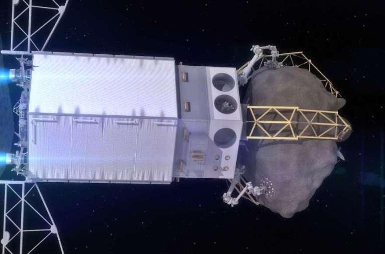 De asteroïde wordt in een baan om de maan geplaatst. Het ARM-ruimtevaartuig blijft aan de asteroïde vastzitten, zodat toekomstige ruimtevaartuigen gemakkelijk aan de ARM-sonde kunnen koppelen.