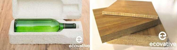 Links: een verpakking van 'myco foam' in plaats van piepschuim. Rechts: 'myco board' als vervanger voor spaanplaat . Foto's: Ecovative.