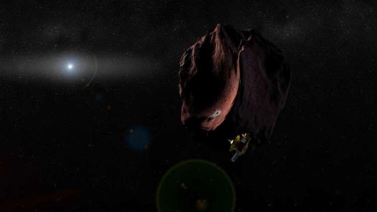 Deze artistieke impressie laat 2014 MU69 zien: het kleinste Kuipergordelobject waarvan de oppervlaktekleur is vastgesteld. Afbeelding: NASA / JHUAPL / SwRI.