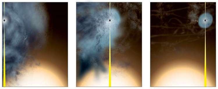 Deze artistieke impressie laat zien hoe het 'uitgeklede' zwarte gat is ontstaan. Afbeelding: Bill Saxton, NRAO / AUI / NSF.